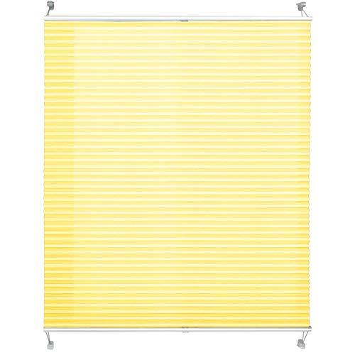 casa pura® Plissee Rollo | mit eleganter Crushed Optik | Klemmfix ohne Bohren | lichtdurchlässig & blickdicht | gelb | 8 Größen (110x150cm)