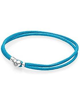 Pandora Armband - Cord türkis - zweifach gewickelt - 590749CTQ-S2 - 19cm