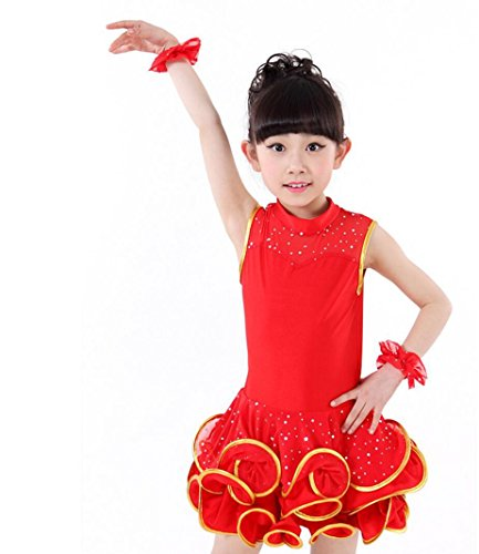Dance Kostüm Freestyle - Kinderkostüm Mädchen Latin Dance Performance Kinder Latin Dance Kostüm Rose/Schwarz / Rot/Gelb, red, 140cm