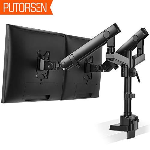 PUTORSEN Monitor Tischhalterung 2 Monitore - Premium Aluminium Ergonomische Schwenkbare Neigbare Höhenverstellbar Monitorhalterung für zwei 17'-32' LED LCD Bildschirme - VESA 75x75-100x100mm, 8kg/Arm