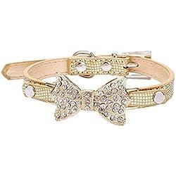 m-g-x hermoso cristal diamante arco cocodrilo mascota pequeña/mediana collar perro cadena para gatos o perros tamaño S (oro)
