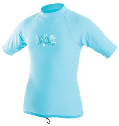XCEL Girl 's 4-Wege-Stretch Stoff Short Sleeve Rashguard, Bonnie blau, Blau - Bonnie Blue (Bonnie Blue Stoffen)