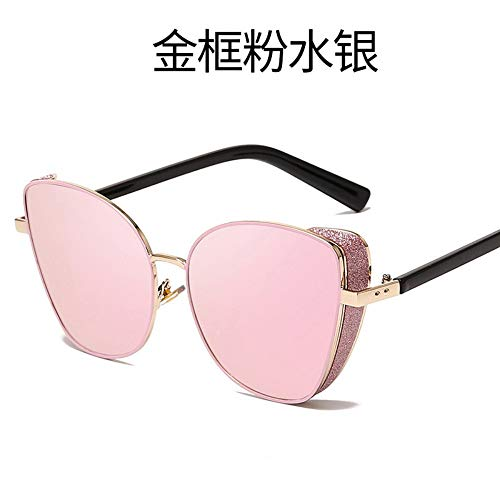MJDABAOFA Sonnenbrillen Frauen Männer Sonnenbrille Gold Frame Pink Vintage Metall Katze Augen Damen Sonnenbrillen Sport Fahren Für Dame Frau Und Männer Sonnenbrille