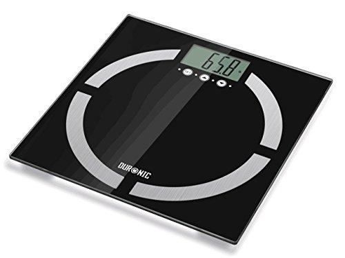 Duronic BS401 Digitalwaage mit Körperfettanalyse mit Digitalanzeige und weiße Glasoberfläche - bis zu 180 kg/Touchbildschirm