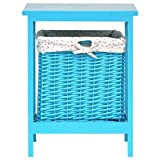 Sitzhocker Hocker Cube Wäschekorb Kinderhocker Beistelltisch LISA mit Stauraum herausnehmbarer Rattankorb Rattan blau Höhe 45cm #5945