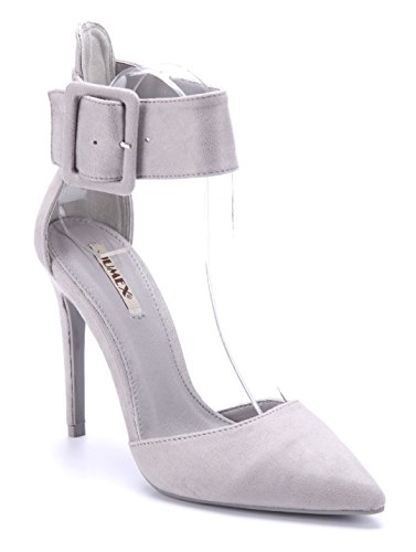 Schuhtempel24 Damen Schuhe Sandaletten Sandalen grau Stiletto 11 cm High Heels