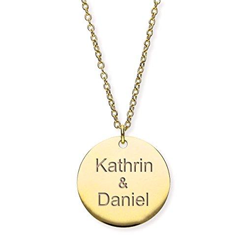 URBANHELDEN - Damen-Kette mit Wunschgravur Anhänger - Personalisierte Namenskette Amulett aus Edelstahl mit 2 Namen- Big Gold G6