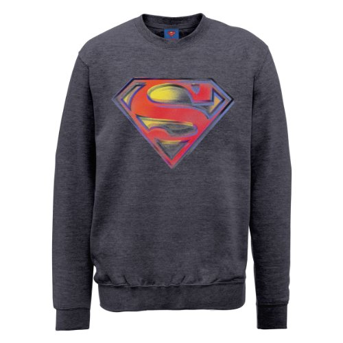 DC Universe Herren Sweatshirt Dc0001016 DC Comics Official Superman Stencil Logo Grau - Stahlgrau