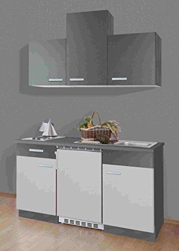 idealShopping GmbH Singleküche Greta 150 cm mit Edelstahl Kochmulde und Kühlschrank in Hellgrau/Graphit