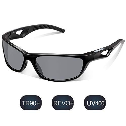TSAFRER Sport Sonnenbrille Polarisierte Sportbrille Fahrradbrille mit UV400 Schutz für Damen und Herren Autofahren Laufen Radfahren Angeln Golf TR90 (Black-Gray)