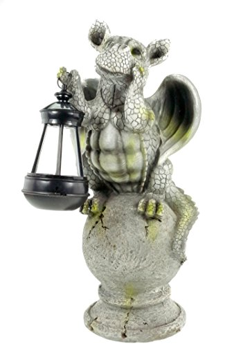 Kremers-Schatzkiste Drachenkind auf Kugel mit Solar Laterne Drache Figur Gargoyle Gartenfigur
