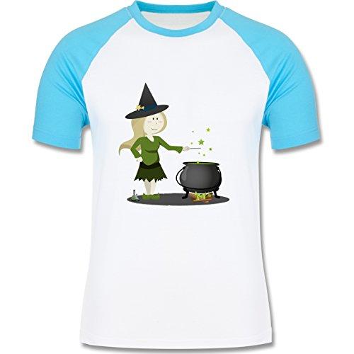 Shirtracer Halloween - Kleine Hexe - Herren Baseball Shirt Weiß/Türkis
