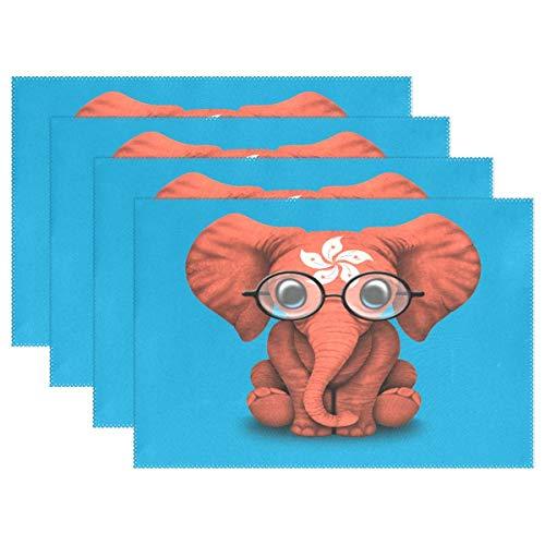 Promini Hitzebeständige Platzdeckchen Hongkong Flagge Baby Elefant mit Brille waschbar Polyester Tischmatten Rutschfest waschbar Platzsets für Küche Esszimmer 4 Stück