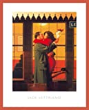Jack Vettriano Poster Kunstdruck Back Where You Belong Bild mit Holz Rahmen in Orange
