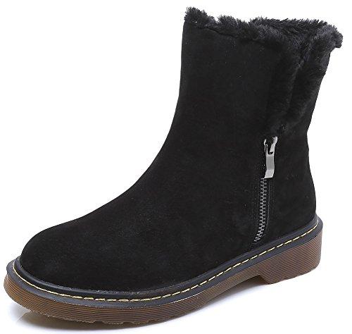 wealsex Boots Suédine Fourrées Plate Motardes Fermeture Eclair Boots Classique Mode Bottes de Neige Cheville Chaudes Grande Taille 40 41 42 43 Femme