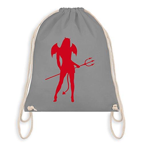 - Sexy Teuflin - Unisize - Hellgrau - WM110 - Turnbeutel I Gym Bag (Teufel Flügel Halloween Kostüm)