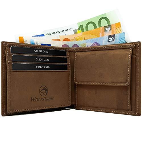 Wolfstrøm Geldbörse Norge - Portemonnaie mit Münzfach & RFID-Blocker - Tri-Fold Herren-Portemonnaie, 8X Karten-Fach, Herren-Geldbörse, Herren-Geldbeutel, Portmonee - Braun -