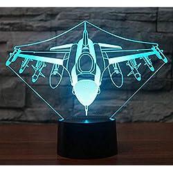 Wcsmqt 3D Avion Lampe Illusion Optique Led Veilleuse Optiques Illusions Lampe De Nuit 7 Couleurs Tactile Lampe De Chevet Chambre Table Art Déco Enfant Lumière De Nuit Avec Cable Usb
