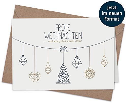 20 Klappkarten & 20 Umschläge: Weihnachtskarten – Nordische Weihnacht – 165 x 115 mm, matter Naturkarton mit Blanko-Innenseiten für Weihnachtsgrüße an Familie, Freunde, Kunden