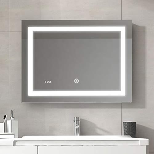 Duschdeluxe 80 x 60 x 4,5 cm Badspiegel Lichtspiegel mit Touchschalter, beschlagfrei und Digital Uhr | Touchschalter beschlagfrei LED Spiegel Wandspiegel mit Digital Uhr IP44 - Kaltweiß