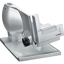 Bosch MAS9454M - Cortafiambres 2-en-1 con disco de corte MultiCut, acero inoxidable y carro metálico de gran tamaño, 140 W, color plata / metálico