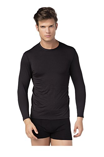 TF Thermoform Langarmshirt Herren Mikrofaser Unterwäsche Elastisch Modisch Farbe Schwarz, Größe XL