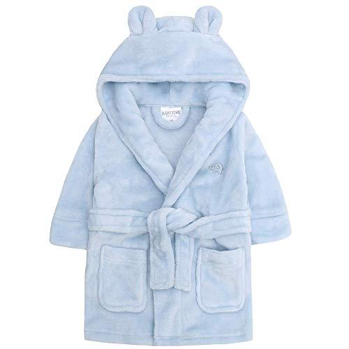 Baby Jungen & Mädchen Unisex Bademantel (Altersstufen 6-24 Monate) Weiches Plüsch Flanell Fleece mit Kapuze Bademantel - Blau, 0-6 Monate