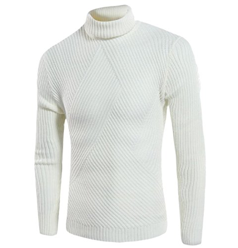 Tootlessly-Men Match Turtleneck Long Sleeve Pure Color Knitting Shirt