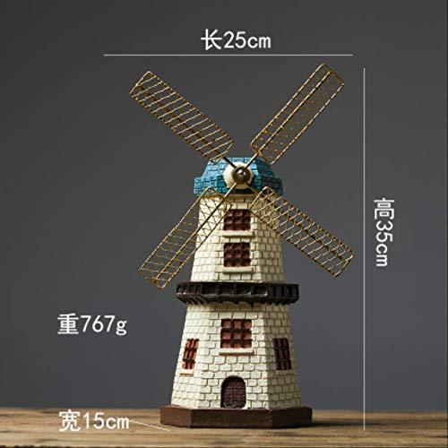 YUANYSBJ Statue Dekoration Nordischen Stil Kreative Harz Niederländische Windmühle Modell Vintage Kleine Haushalt Wohnzimmer DekorationC