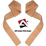 AQF Gewichtheffen Bandjes voor Gym, CrossFit niet-opgevulde Training Polssteun Bandjes Bodybuilding Powerlifting Fitness Webbing Bar Grips (Bruin Leder)