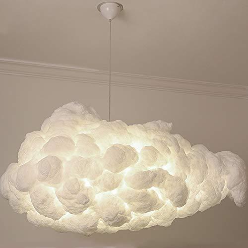 INJUICY Moderne Nuage Lampe Suspensions Lustre Plafonniers en Coton Abat-jour Eclairage de Plafond pour Café Couloir Salle à Manger Salon Fille Chambres D'enfants (Diamètre 800 mm)