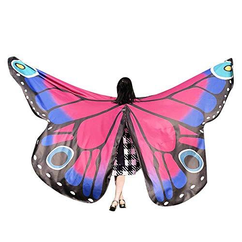 WOZOW Damen Schmetterling Schmetterlingsflügel Kostüm Karneval Fasching Faschingkostüme Poncho Schal Tuch Umhang für Party Cosplay (Heißes Rosa)