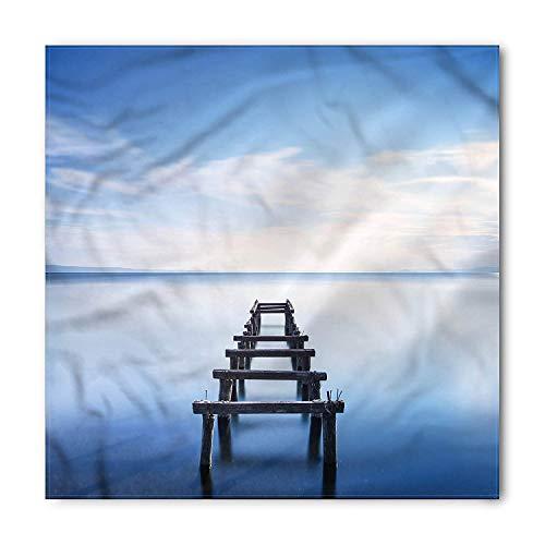 Landscape Bandana, Old Jetty Blue Sky, Unisex Head and Neck Tie, Printed Unisex Bandana Head and Neck Tie Scarf Headband, Multicolor M 100x100cm Sky Blue Mens Tie