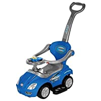 3-in-1stroller Kids ride on push Car in Blue; recommended for Children 1-3years of Age; removable stroller, handle, foot rest, and hand rails; dimensioni: 25X 12X 15; great Gift for all Children.