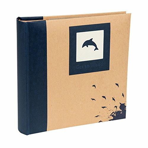 (Blue, 200 Photos 6x4 inch / 10x15cm) - Kenro Blue Dolphin Photo Album with Kraft Paper Cover for 200 Photos 6x4 inch/10x15cm Family Photograph Album, Green Wood Series - GRW006UE
