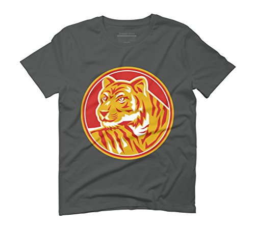 Tiger Prowling Head Circle Retro Men's Graphic T-Shirt - Design By Humans Anthracite