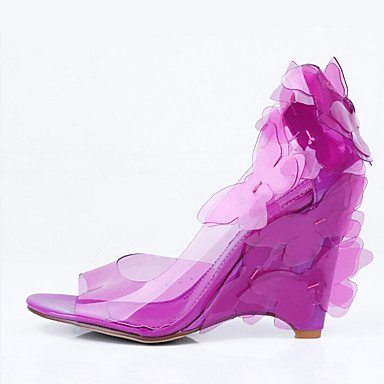 LvYuan Da donna-Sandali-Ufficio e lavoro Formale Casual-Comoda-Zeppa-PU (Poliuretano)-Blu Rosa Viola Caffè Blu chiaro Pink