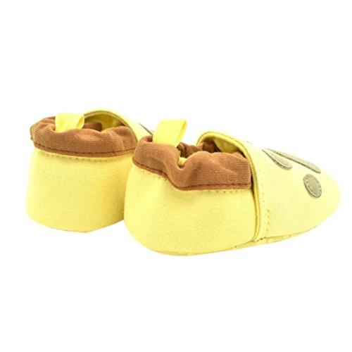 Clode® Chaussures bébé Sneaker Anti-dérapant Chaussures Semelles souples Toddler (12~18 mois, café) Jaune