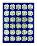Lindner 2537M Münzenbox Marine mit 30 runden Vertiefungen für Münzenkapseln mit Außen-Ø 37 mm-Grau / blaue Einlage