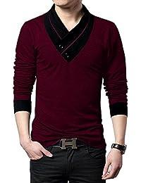 EYEBOGLER Solid Men's Shawl Collar Regular Fit T-Shirt