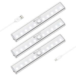OxyLED Bewegungssensor Kleiderschrank Beleuchtung,USB Wiederaufladbare Schrankleuchten,Stick auf überall Wireless 10 LED Schrankbeleuchtung mit Magnetstreifen für Schrank Küche Treppe,3 Stück,Weiß