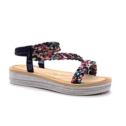Angkorly - Damen Schuhe Sandalen - Böhmen - Lässig - Metall Detail - Schal drucken - Geflochten - Strass Glitz Keilabsatz high Heel 4 cm - Blau 818-7 T 38 - High Heel 4