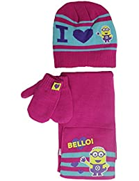 MINIONS Girls 3pc Hat Scarf Mittens Set