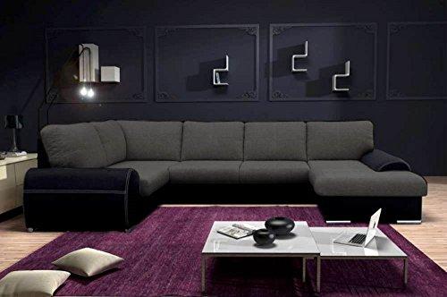 JUSTyou TOFFI Duo Canapé d'angle en Simili Cuir Velours Daim synthétique Noir Gris (L x P): 350 x 210 x 180 cm Angle Gauche