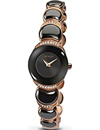 Sekonda Seksy Sapphire Ladies Rose Gold Plated Bracelet Watch Black Dial Crystal Set Case 2296
