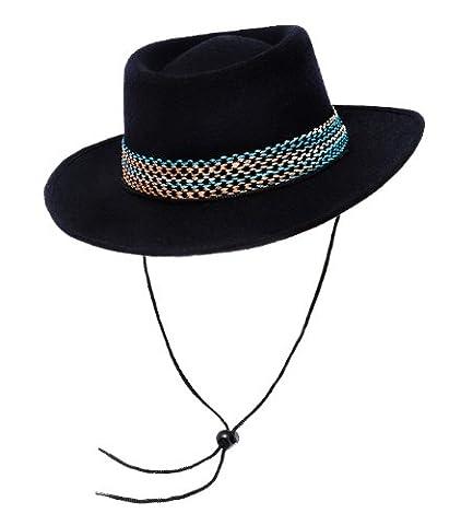 Un chapeau de cowboy en feutre laine noir avec une bande pour adulte. Ideal pour les enterrements de vie de garçon ou de jeune