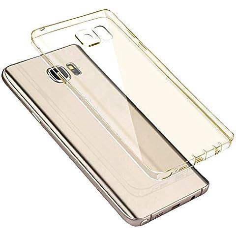 Cuitan Claro Suave TPU Funda Carcasa Trasera para Samsung Galaxy S6, Anti-rasguños Resistencia a la Caída Protectora Cubierta Carcasa Back Case Cover Shell para Samsung S6 - Oro (Transparente)