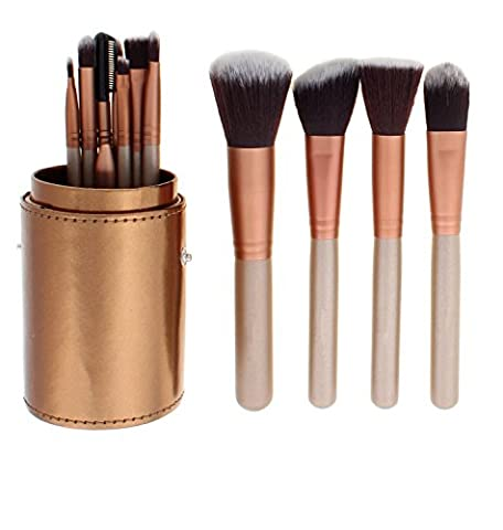 Tinabless 12pcs Pinceaux Maquillage-Professionnel Natural Synthétique Vegan Fond de Teint Contour Brush-Beauté Pro Concealer Make Up Eye Liner Sourcil Visage Bronzante Brosse Kit+Cylinder Cup Holder