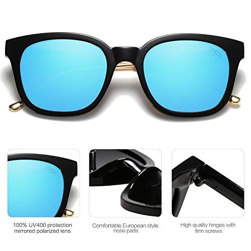 SOJOS Moda Vintage Occhiali da Sole Quadrati Polarizzate Specchiati Uomo e Donna Unisex SJ2050 Con Nero Telaio/Blu Specchio Lente