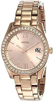 ساعة سكارليت للنساء من فوسيل بمينا بلون ذهبي وردي وسوار من الستانلس ستيل، ساعة انالوج - ES4318